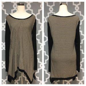 Philosophical Stripe Asymmetrical Tunic 1P
